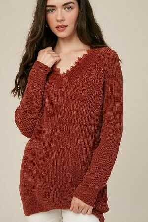 Chenille v neck pull over sweater with lace
